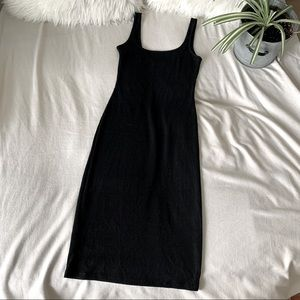 Topshop Black Ribbed Bodycon Midi Dress